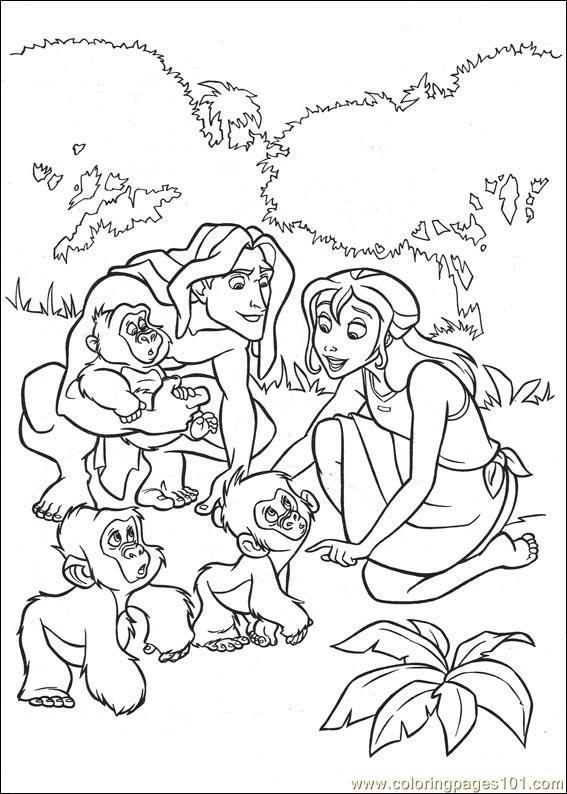 dessins à colorier tarzan (cartoons tarzan) gratuit à imprimer coloriage