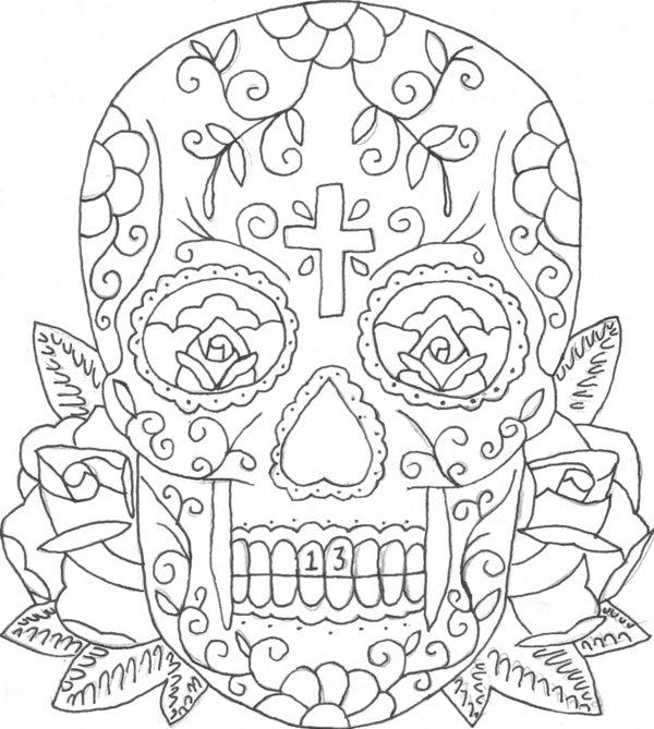 63 dessins de coloriage tatouage imprimer sur laguerche for Skulls and roses coloring pages