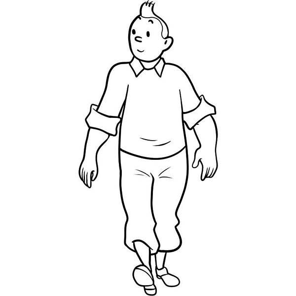 tintin walking around dessin à colorier coloriage