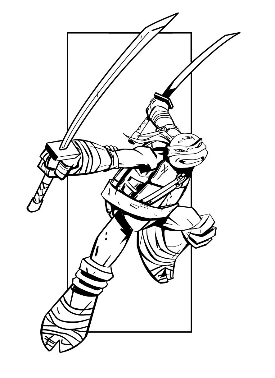 coloriage tortue ninja, la nouvelle génération raph leo don mick
