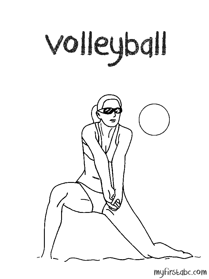 Image #17652 - Coloriage volleyball gratuit
