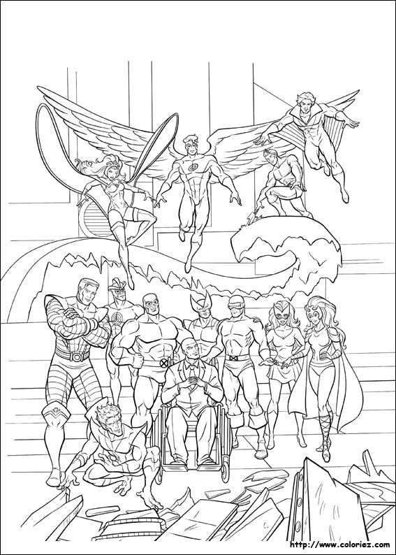 coloriage x men héros