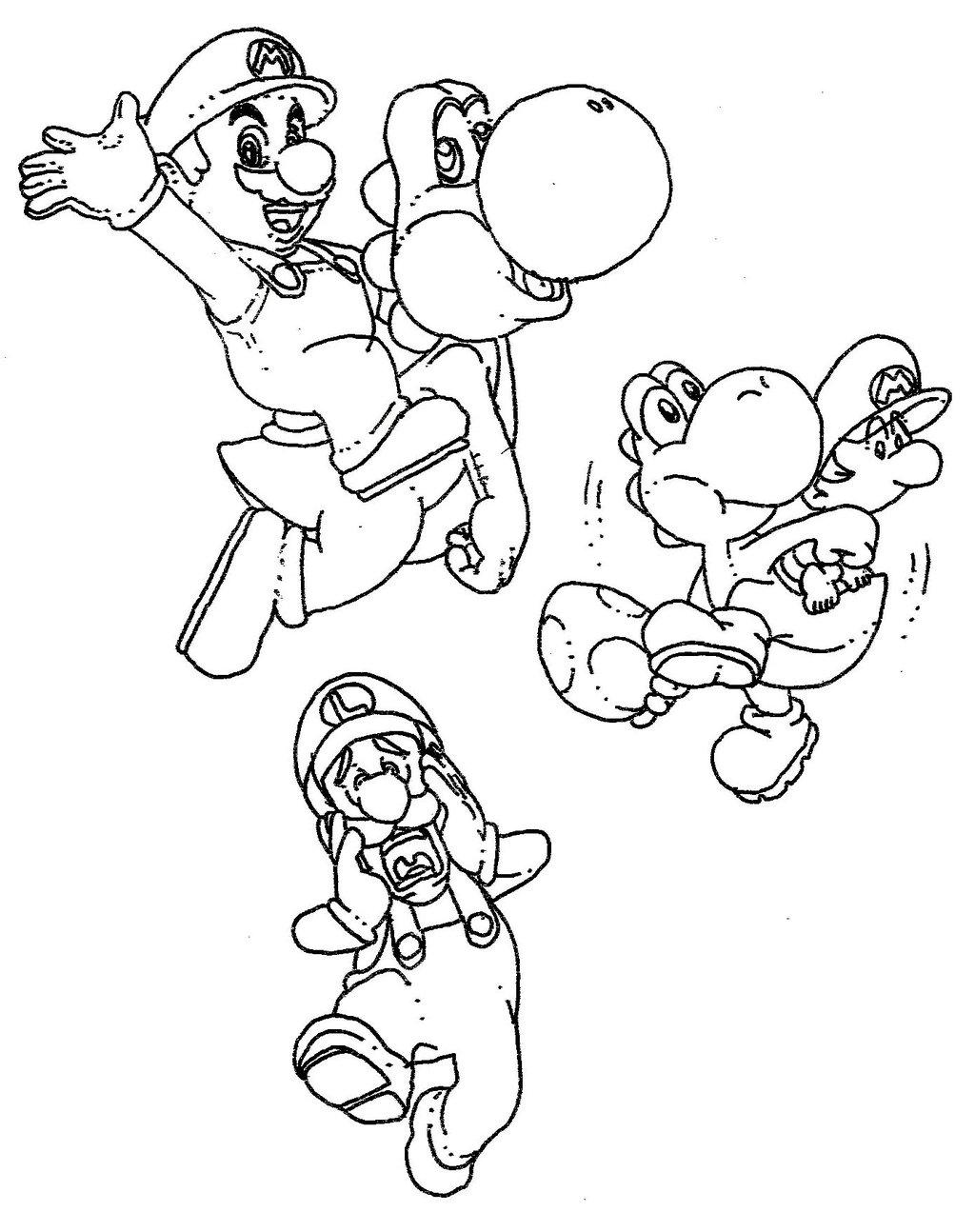 Coloriage De Mario Et Ses Amis Coloriage Mario Et Yoshi