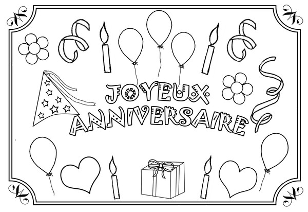 s lection de dessins de coloriage anniversaire imprimer sur page 3. Black Bedroom Furniture Sets. Home Design Ideas
