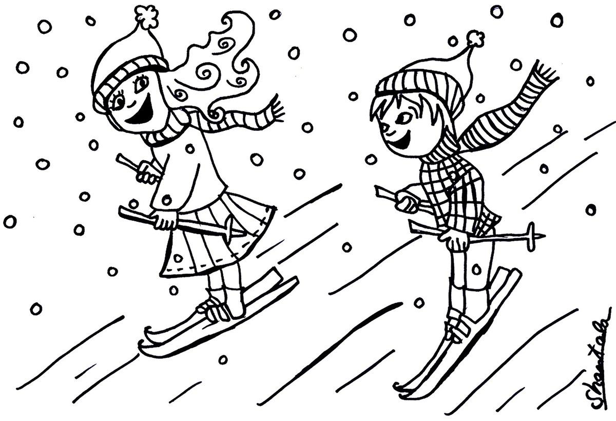 S lection de dessins de coloriage ski imprimer sur - Dessin de neige ...