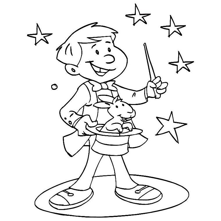 14 dessins de coloriage cirque magicien imprimer sur page 1 - Dessin de chapeau de magicien ...